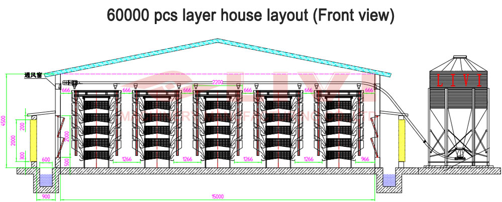 chicken house design drawing for 60000 layers